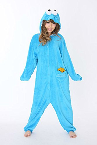 Sesame Street Cookie Monster Costume Kigurumi - Adult Pajamas Fancy Dress