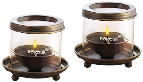 Borosil Antique Diya Lights (Small, Set of 2)