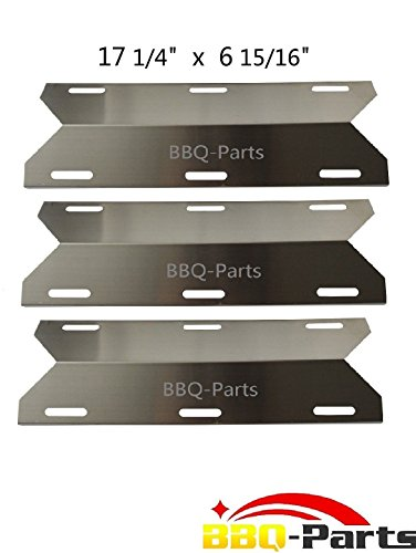 Hongso SPA241 (3-pack) Stainless Steel Heat Plate, Heat Shield, Heat Tent, Burner Cover Replacement for Charmglow, Costco Kirkland, Nexgrill, Sterling Forge, Lowes Model Grills (17 1/4″ x 6 15/16″)