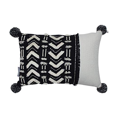 "CC Home Furnishings 18.5"" Rectangular Black and White Handmade Aztec Fringed Indoor Throw ()"