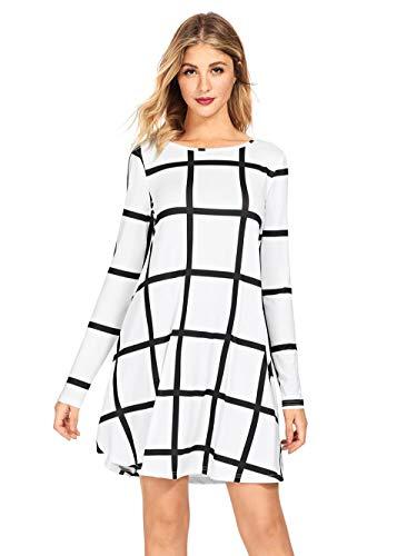 Black & White Check Dress - SheIn Women's Grid Check Print Long Sleeve Swing Dress Black&White Large
