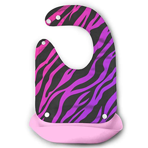 Price comparison product image Colorful Zebra Baby Bib Teething Toddler Bibs Baby Feeding Bib With Removable Pocket Snap Adjustable Pink