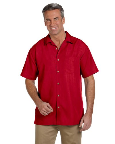 Harriton mens Barbados Textured Camp Shirt(M560)-PARROT (Textured Classic Shirt)