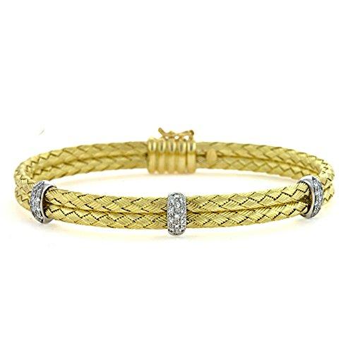(0.29 Ct Diamonds 18k Yellow Gold Basket-Weave Braided Flexible Textured Finish Double Bangle Bracelet)