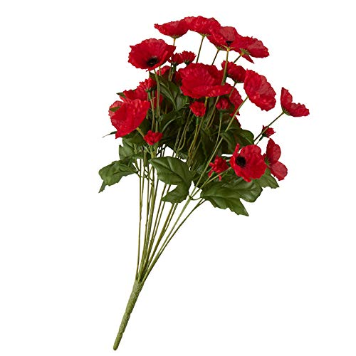 Factory Direct Craft Colorful Red Poly Silk Poppy Floral Bush | for Indoor Decor