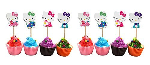 Hello Kitty Cupcake Toppers Party Pack for 24 Cupcakes -