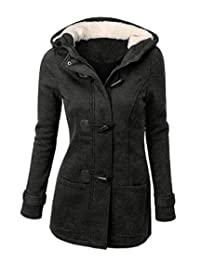 Abetteric Womens Mid Length Hooded Long Sleeve Winter Coat Coat Jacket