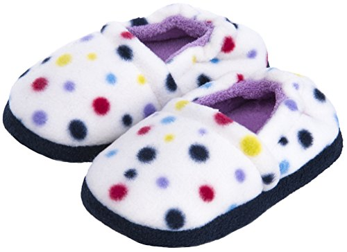 MIXIN Girls Memory Foam Indoor Outdoor Winter Warm Cute Soft Cozy Slip on Non Slip Slippers Shoes(Toddler/Little Kid) Dots Size 9-10 M by MIXIN