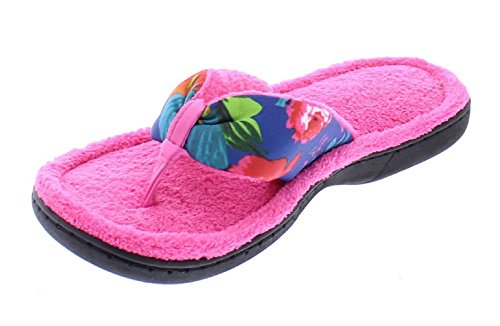 Ultimate Thong Flip Flop (Gold Toe Women's Cammy Floral Print Open Toe Memory Foam Plush Flip Flop House Scuffs Thong Slippers Pink L 9 US)