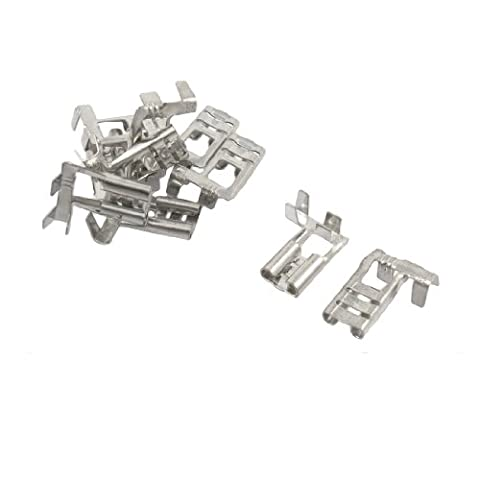 10 Pcs Silver Tone Tone Male Spade Crimp Terminals 6.3mm Wiring Connectors