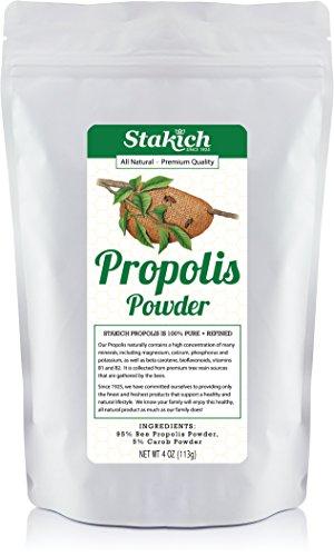 Stakich BEE PROPOLIS POWDER w/ 5% CAROB - 100% Pure, All Natural, Top Quality - 4 oz