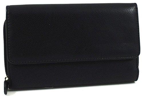 Mundi Womens Soft Pebble Big Fat Clutch Wallet w/ Calculator (Black)