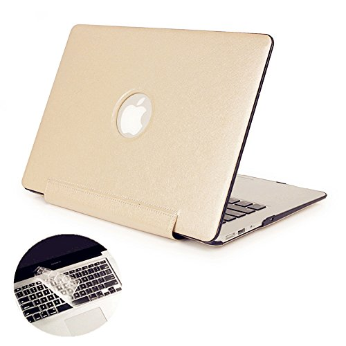 Se7enline High-end Ultra Slim Premium Silky PU Leather Coated Plastic Hard Shell Folio Siamesed Case Cover Logo Cutout for MacBook Air 13 A1369/ A1466 with Clear Keyboard Skin, Champagne -