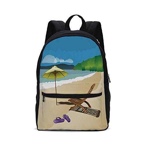 (Summer Fashion Canvas printed Backpack,Beach Sunshine Sand Waves Sandal Deckchair Holiday Relaxation Vacation Cartoon Print for school,One_Size)