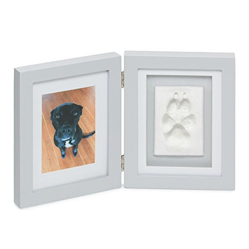 Better World Pets Paw Prints Keepsake Photo Frame Holds 4 x 6 inch Picture – Memorial Clay Imprint Kit – for Dogs and Cats – Perfect for Pet Lovers – Hinged for Desktop