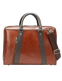 Ronts Brown PU Leather Briefcase for Men Women 15.6 Inch Laptop Messenger Shoulder Bag Vintage Business Handbag Work Attache Case