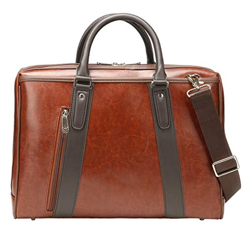 (Ronts Vintage Laptop Handbag PU Leather Shoulder Bag Business Office Briefcase for Men Women fit 13''-15.6 Inch Notebook, MacBook Brown)