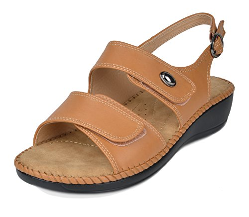 (DREAM PAIRS Women's Truesoft_03 Camel Low Platform Wedges Slingback Sandals Size 5.5 B(M) US)