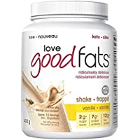 Love Good Fats Low Carb Diet, Great as Meal Replacement Shake or Shakes for Weight Loss, Gluten Free and Soy Free - Vanilla Flavour, 400 Grams