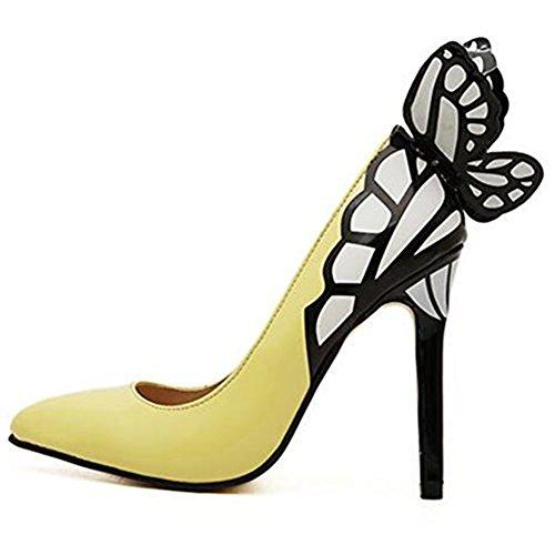 Mince Newbestyle Papillon Le Printemps Décoration Haut été Pour Talon Avec et Pointu Talon Femme Jaune L'automne rRryFX