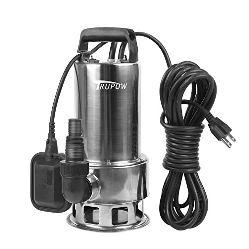 Trupow 1.5HP 110v Submersible Sewage Drain Flood Stainless Steel Clean/Dirty Water Sump Transfer Pond Garden Pump (Water Industrial Submersible Pump)