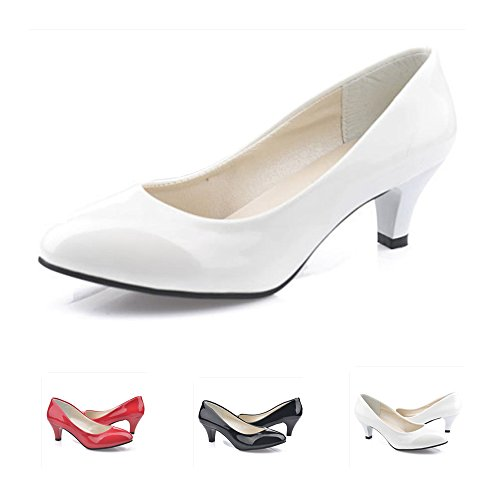 RVROVIC Women Shoes Closed Toe Kitten Heel Pumps For Dress Work Party (Heels Kitten White)