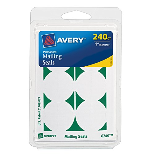 Avery Permanent Mailing Seals # 1 Dia, 240 Pack Labels (6740)