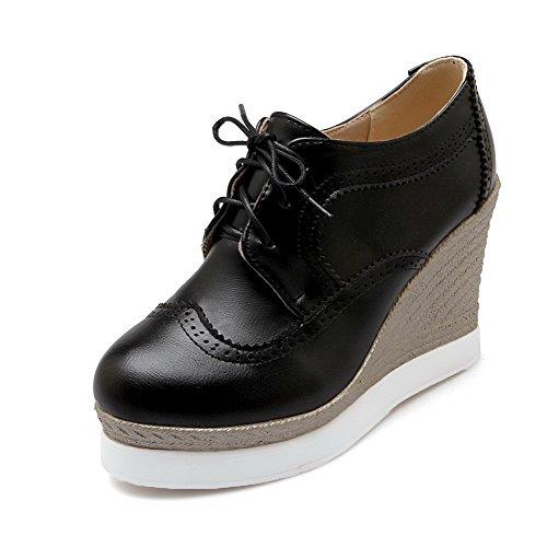 Amoonyfashion Donna Stringate Tacco Alto Tacchi Alti Pompe-scarpe Nere