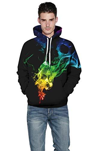 Sweats Pull D'impression Patterned Colorée Unisex Fumée 3d Personnalité Yimiao Multicolore À Sweatshirt Prints Hoodie Capuche pxYtpdA