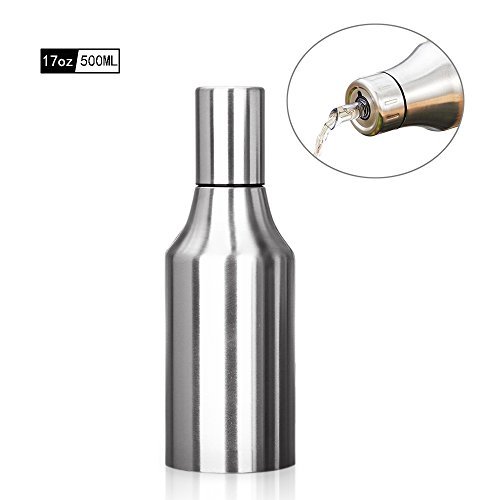 HQGOODS Oil Dispenser,Stainless Steel Olive Oil/Vinegar/Sauce Cruet Oil Bottle Edible Oil Container Pot - Non drip Pouring Spout Perfect for BBQ(17 oz/500ML) by HQGOODS