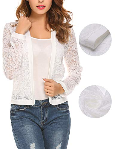 Mofavor Women's Spring Fashion Long Sleeve See Through Loose Fit Lace Open Front Cardigan White XL -