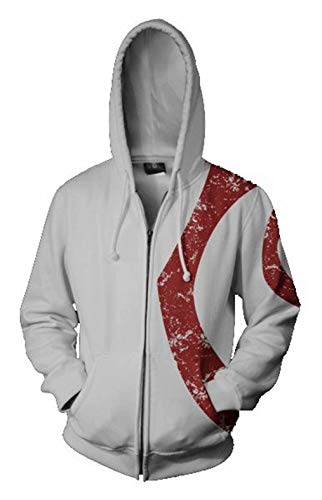 (Greed Land Mens Print White Hoodie Full Zipper Sweatshirt Wars God Sparta)