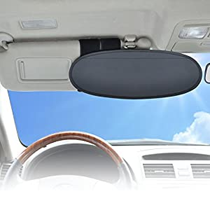 WANPOOL Anti-Glare Anti-Dazzle Vehicle Visor Sunshade Extender Sun Blocker for Cars, Vans and Trucks (sliver)