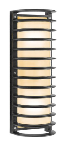 Access Lighting 20342MG-BRZ/RFR Poseidon 2-Light Wet Location Caged Bulkhead,  Bronze with Ribbed Frosted Glass