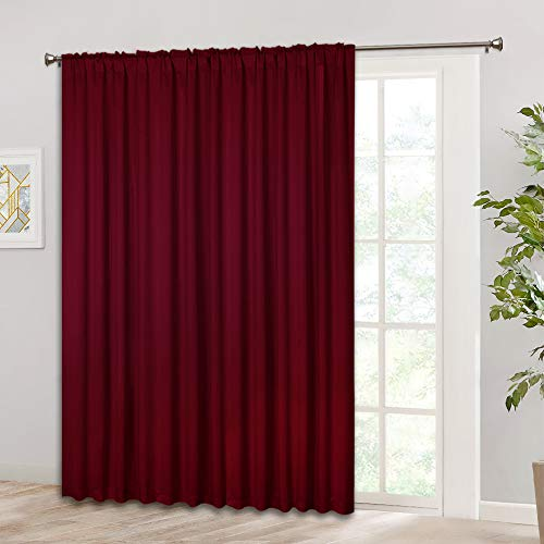 RYB HOME Decor Extra Wide Vertical Blinds, Large Windows Curtain for Back Door/Gazebo/Patio Door, Insulated Wall Panel for Energy Saving, 100 Wide x 84 Long, Burgundy Red (Draperies Patio Doors For)