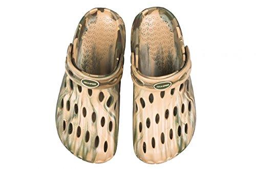 AQUA-SPEED® ISLA II Badepantoletten Herren (Größen 39-46 Clogs Swimmingpool Fixierschlaufe Ventilationslöcher)