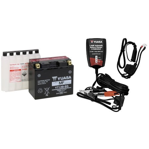 Yuasa YUAM6212B YT12B-BS Battery and Automatic Charger Bundle