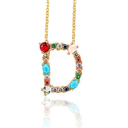 Initial Letter Necklace - Golden Letter Script Name Pendant Monogram with Colorful Cubic Zirconia Crystal& Gemstone Necklace for - Pendant Initial Crystal