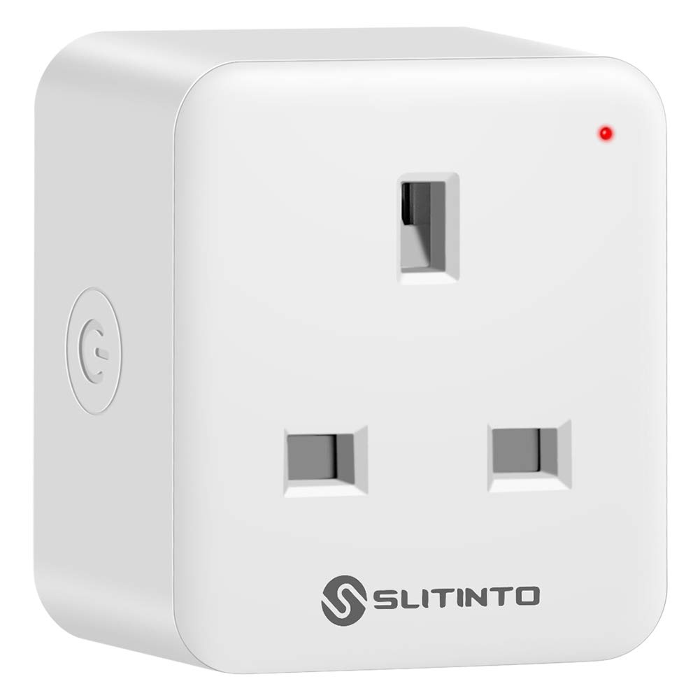 Slitinto WiFi Smart Plug Socket Compatible with Alexa, Echo, Google Home and IFTTT, Mini Smart Outlet with Energy Monitoring, App Remote Control and Timer Function, No Hub Required, 16A