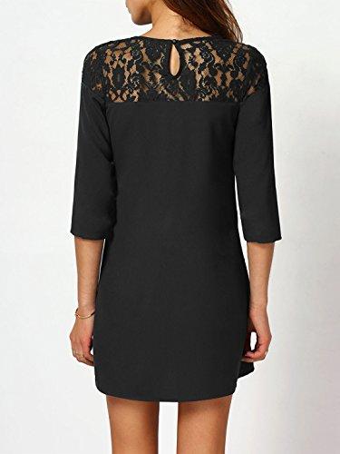 Lace Yoke Round Dress Neck Women's Black Shift Casual Sexy SheIn Sheer WtYU0wwq