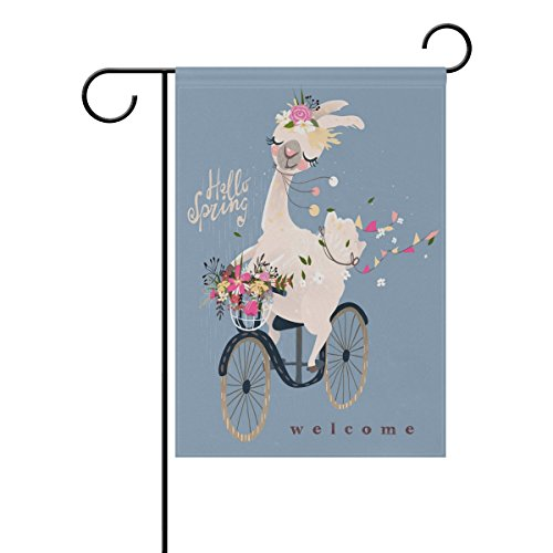 ALAZA Garden Flag Yard Decoration, Cute Alpaca With Floral Wreath Hanging Flags Vintage Double-sided Decor Home House Flags, 28