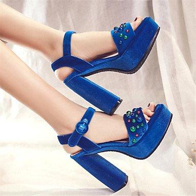 LvYuan Tacón Robusto-Confort Innovador Zapatos del club-Sandalias-Exterior Vestido Informal-Vellón Purpurina Materiales Personalizados-Azul Negro Dark Blue