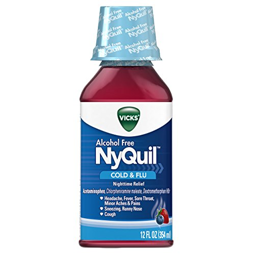 Vicks NyQuil Cough Cold and Flu Nighttime Relief, Alcohol Free Berry Liquid, 12 Fl (Flu Relief Berry)