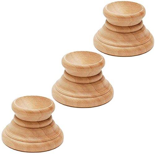Wood Egg Stand - Set of 3 Blank Unfinished Wooden Egg Stands Holders Displays