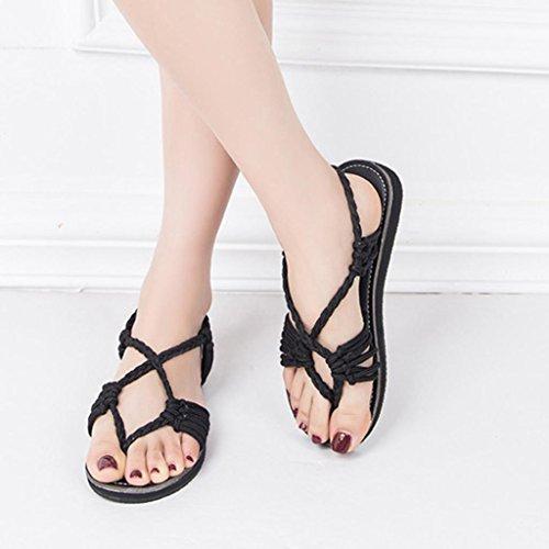 Bout Loisir Ouverte Plage Clip Sandales 42 Noir Chaussure 34 Tongs Ete Sandale EU Sandales de de Pantoufles Lacets Plate Solike Flops de Casual Femme Flip Sandale Été Femmes xqc7wvf