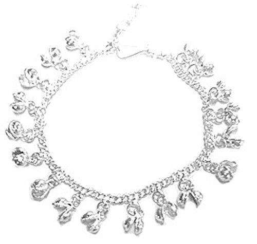 Anklet Bells Silver (Roger Enterprises Ankle Bracelet Bead Anklet Jingle Bell Charms Adjustable Curb Chain 10