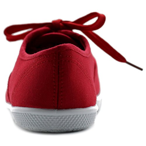 Women's Flats Ollio Red Sneakers up Lace Canvas Shoes FSSwT7qd
