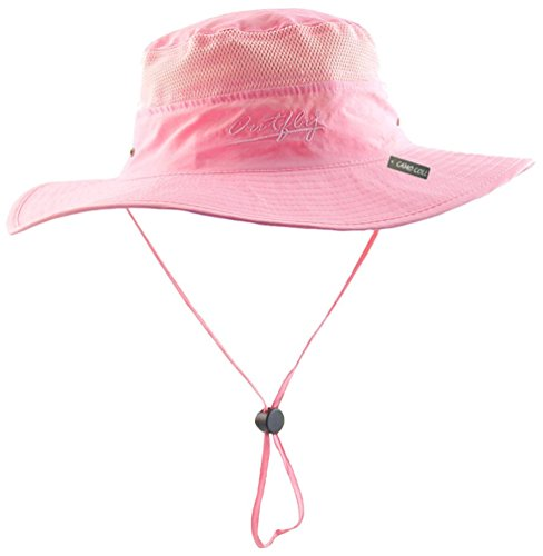 Camo Coll Outdoor Sun Cap Camouflage Bucket Mesh Boonie Hat (Pink, One Size)