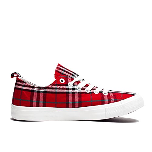 Fashion Vegan Leather Monochromatic Lace Up Colored Sneakers, Low Top Round Toe Shoes, Stylish and Comfortable (8, Red and Black Plaid) by Shelf Angel (Image #1)
