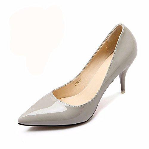 HXVU56546 El Nuevo Y Elegante Y Atractivo Tacones Altos Durante La Primavera Y El Otoño Solo Zapatos Zapatos De Mujer Zapatos De Trabajo Gray